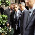 Nicolas Sarkozy quitte son hôtel, à New York. 21/09/09