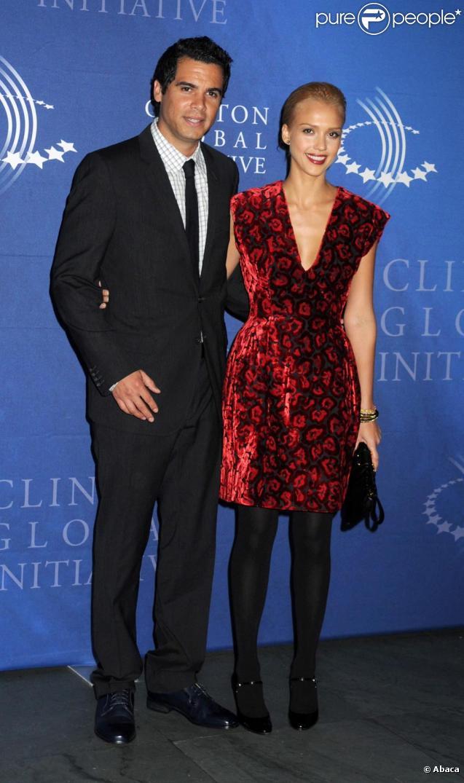 Jessica Alba et Cash Warren lors de la réception donnée par Bill Clinton à New York le 23/09/09