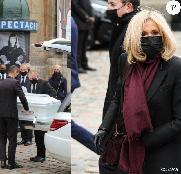 Obsèques de Juliette Gréco en l'église Saint-Germain-des-Prés, à Paris, le 5 octobre 2020. Ici en présence de Brigitte Macron.