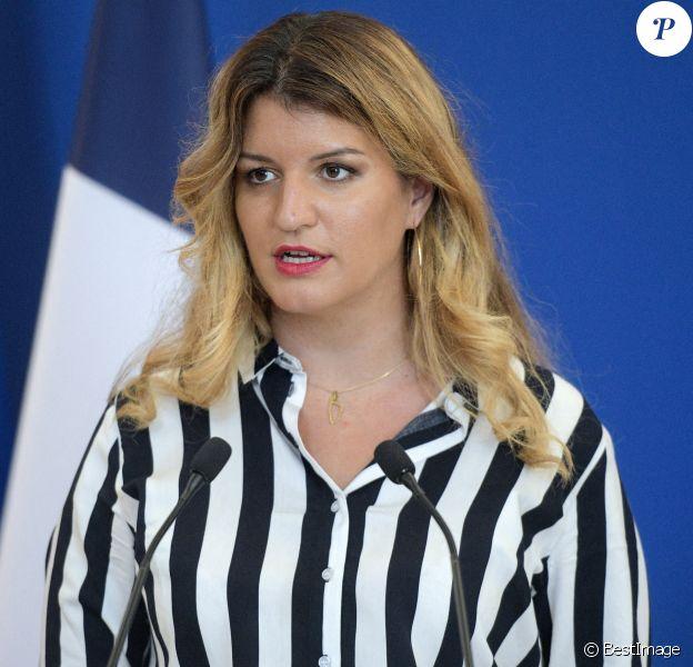 Marlène Schiappa, ministre déléguée en charge de la citoyenneté lors d'une conférence de presse sur la présentation des objectifs de la ministre déléguée à la citoyenneté au ministère de l'Intérieur à Paris.