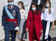 Leonor et Sofia d'Espagne solennelles avec Felipe et Letizia pour la Fête nationale