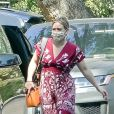 Exclusif - Hilary Duff est allée à une fête d'anniversaire privée avec son fils Luca, sa fille Banks et son mari Matthew Koma dans le quartier de Studio City à Los Angeles pendant l'épidémie de coronavirus (Covid-19), le 27 septembre 2020