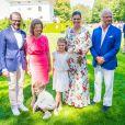 Le prince Daniel de Suède, la reine Silvia de Suède, la princesse Victoria de Suède, la princesse Estelle de Suède, le prince Oscar de Suède et le roi Carl Gustav de Suède - La famille royale de Suède célèbre l'anniversaire (42 ans) de la princesse Victoria de Suède à la Villa Solliden à Oland en Suède, le 14 juillet 2019.