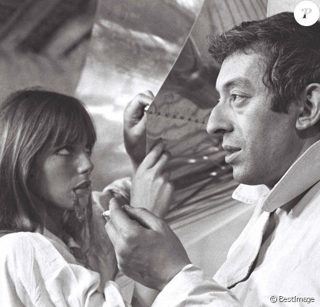 """Archives- Première rencontre de Serge Gainsbourg et Jane Birkin sur le tournage du film """"Slogan"""" réalisé par Pierre Grimbalt."""