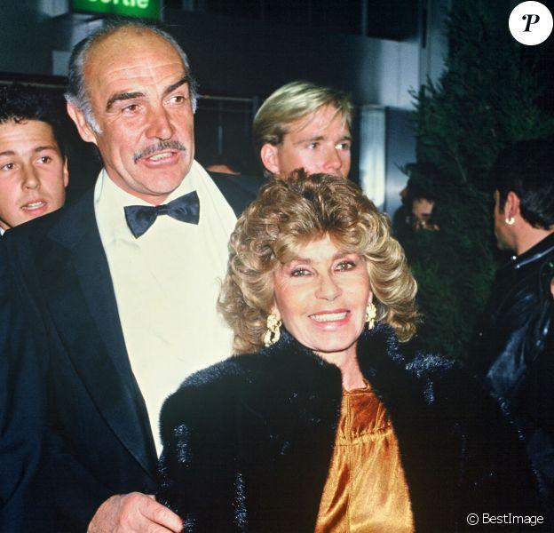 Sean Connery et sa femme Micheline Roquebrune - Archives. 1987