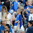 Ludivine Payet (la femme de Dimitri Payet), ses fils Milan et Noa lors du match de la finale de l'Euro 2016 Portugal-France au Stade de France à Saint-Denis, France, le 10 juillet 2016. © Cyril Moreau/Bestimage