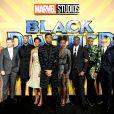 Le cast du film Black Panther lors de l'avant-première du film à Londres.