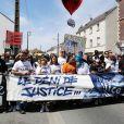 Marche pour Adama Traoré décédé le 19 juillet 2016 en présence de sa soeur Assa Traoré à Beaumont-sur-Oise le 18 juillet 2020.