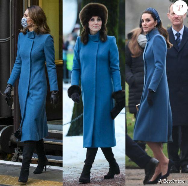 Kate Middleton portant son manteau bleu Catherine Walker : en décembre 2020 en Ecosse, en février 2018 à Oslo et janvier 2019 à Sandringham.