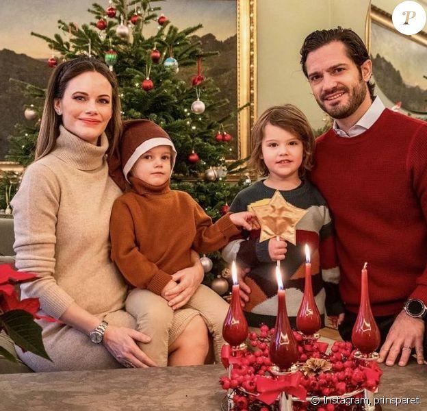 Le prince Carl Philip de Suède, son épouse la princesse Sofia et leurs deux enfants, le prince Gabriel et le prince Alexander, sur Instagram, décembre 2020.