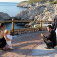 Exclusif - Le prince Gabriel, la princesse Sofia de Suède (Hellqvist), le prince Carl Philip de Suède lors du mariage de Carolina Pihl et Gunnar Eliassen à Capri le 20 septembre 2019.