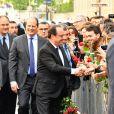 Jean-Christophe Cambadélis - François Hollande arrive au siège du parti socialiste rue de Solférino après la passation de pouvoir à Paris le 14 mai 2017.