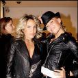 Indra et une amie, à l'occasion des 32 ans de la marque de haute-fourrure Sam-Rone, au Sam-Rone's Space, à Paris, le 14 octobre 2009 !
