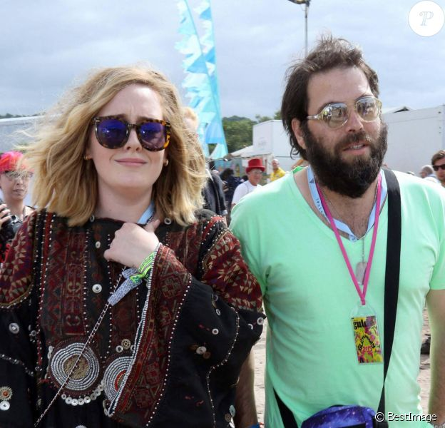 La chanteuse Adele et son compagnon Simon Konecki - Festival Glastonbury.