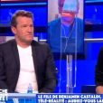 """Benjamin Castaldi et son fils Simon dans """"Touche pas à mon poste""""."""
