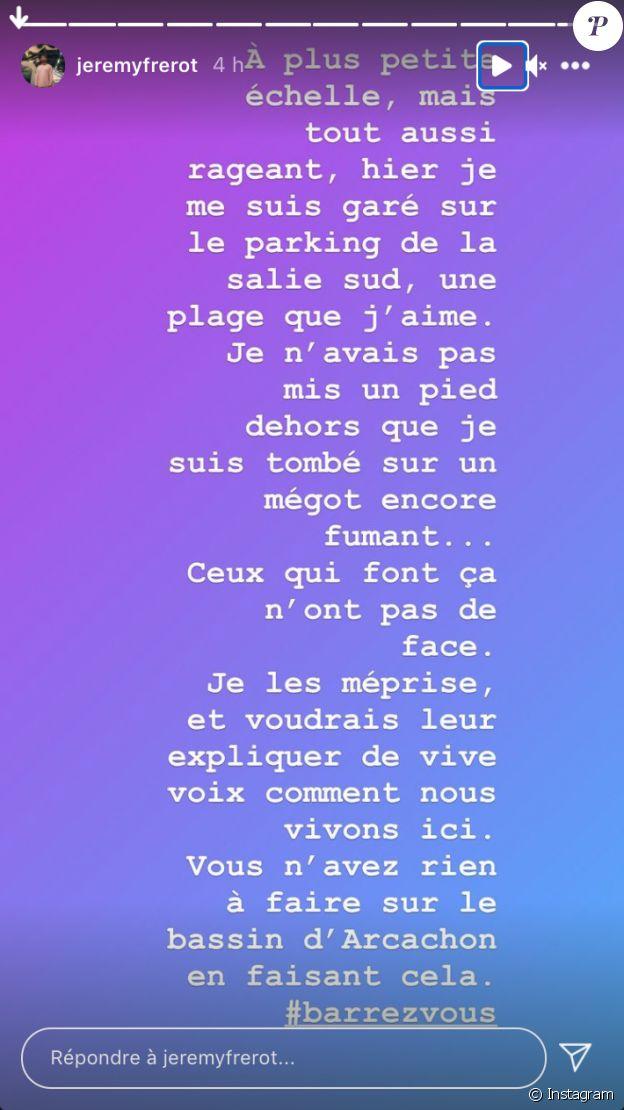 Jérémy Frérot pousse un coup de gueule sur Instagram, le 26 janvier 2021.