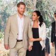"""Le prince Harry, duc de Sussex et Meghan Markle, duchesse de Sussex, enceinte, en visite au """"Andalusian Gardens"""" à Rabat. Le 25 février 2019."""