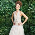 Andra Day a suivi la cérémonie des Golden Globes à distance, vêtue d'une robe Haute Couture Chanel. Le 28 février 2021.