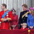 Le prince Harry, duc de Sussex, la princesse Beatrice d'York, la princesse Eugenie d'York et le prince William- La famille royale au balcon du palais de Buckingham lors de la parade Trooping the Colour, célébrant le 93ème anniversaire de la reine Elisabeth II, Londres.
