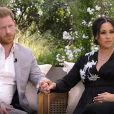 Le prince Harry et Meghan Markle (enceinte) lors de leur interview vérité avec Oprah Winfrey, le 7 mars 2021.