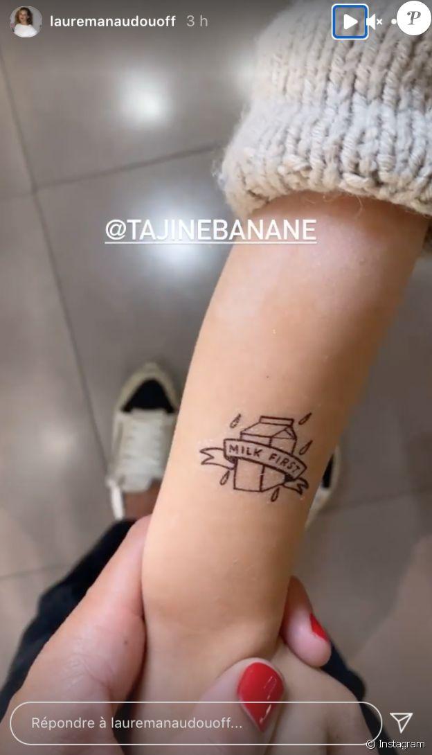 Laure Manaudou dévoile un petit tatouage temporaire fait sur son fils, le mercredi 14 avril 2021.