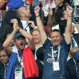 Dany Boon, Arthur (Jacques Essebag) - People au stade Loujniki lors de la finale de la Coupe du Monde de Football 2018 à Moscou, opposant la France à la Croatie à Moscou le 15 juillet 2018 .© Cyril Moreau/Bestimage