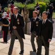 Le prince William, duc de Cambridge, Peter Phillips, Le prince Harry, duc de Sussex, - Arrivées aux funérailles du prince Philip, duc d'Edimbourg à la chapelle Saint-Georges du château de Windsor, le 17 avril 2021.