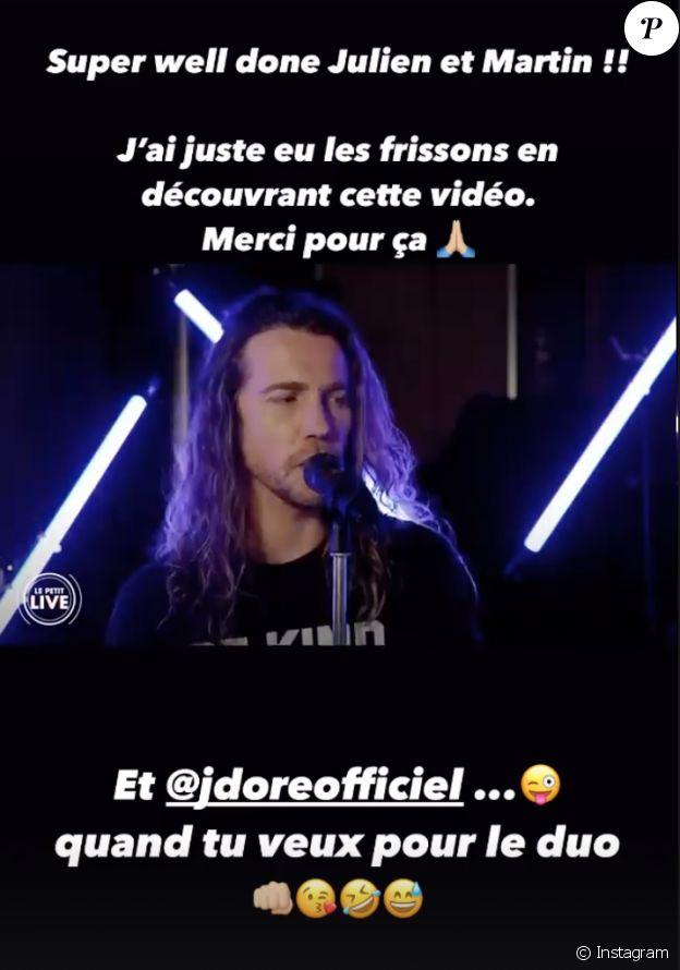 """Ophélie Winter félicite Julien Doré après sa reprise réuissie de """"Dieu m'a donné la foi""""."""