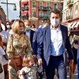 Exclusif - Christian Estrosi, le maire de Nice, sa femme Laura Tenoudji Estrosi et leur fille Bianca lors des célébrations de la traditionnelle fête de l'Assomption au port de Nice, le 15 août 2020. © Bruno Bebert/Bestimage
