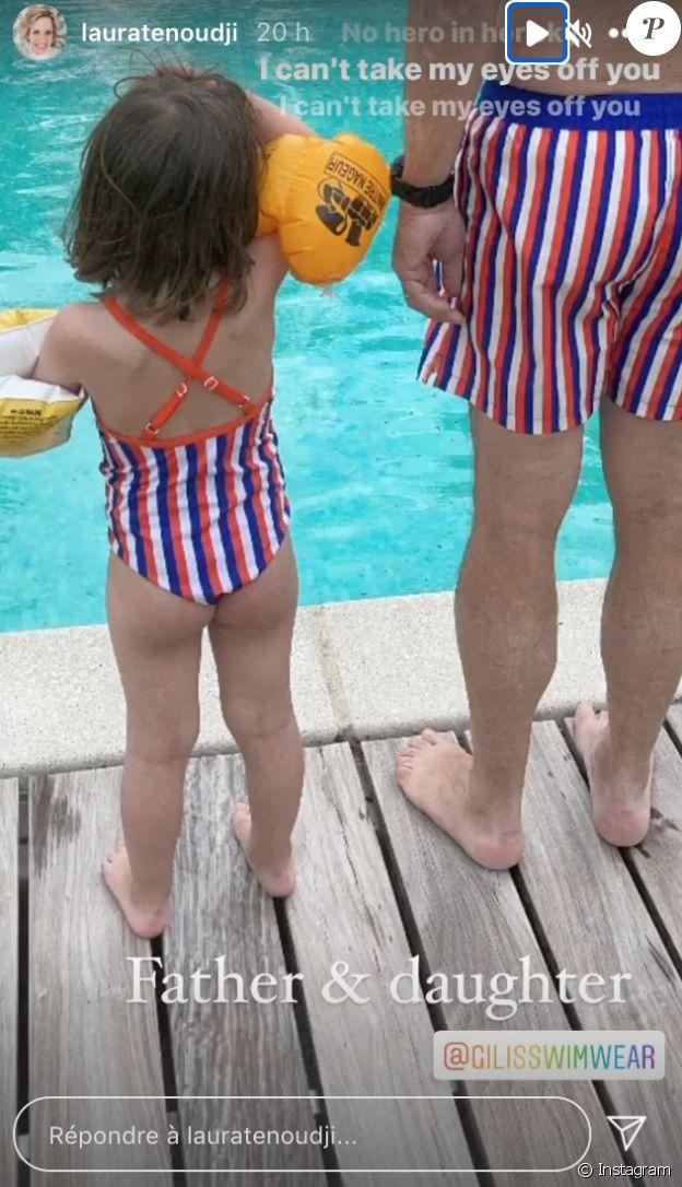 Christian Estrosi et sa fille Bianca profitent de la piscine.