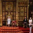 La reine Elisabeth II d'Angleterre, le prince Charles, prince de Galles, et Camilla Parker Bowles, duchesse de Cornouailles, - La reine d'Angleterre va prononcer son discours d'ouverture de la session parlementaire à la Chambre des lords au palais de Westminster à Londres, Royaume Uni, le 11 mai 2021.