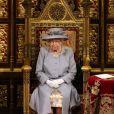 La reine Elisabeth II d'Angleterre lors de son discours d'ouverture de la session parlementaire à la Chambre des lords au palais de Westminster à Londres, Royaume Uni, le 11 mai 2021.