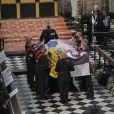 La reine Elisabeth II d'Angleterre et L'archevêque de Canterbury et primat de la Communion anglicane Justin Welby - Funérailles du prince Philip, duc d'Edimbourg à la chapelle Saint-Georges du château de Windsor, Royaume Uni, le 17 avril 2021.