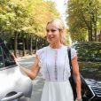 """Marion Rousse arrive à l'enregistrement de l'émission """"Vivement Dimanche Prochain"""" au studio Gabriel à Paris, France, le 21 août 2019."""