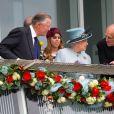 La reine Elisabeth II d'Angleterre, le prince Philip, Duc de Edinburgh et les princesses Beatrice et Eugenie assistent a la course hippique 'Investec Derby 2013' a Epson le 1er fevrier 2013.