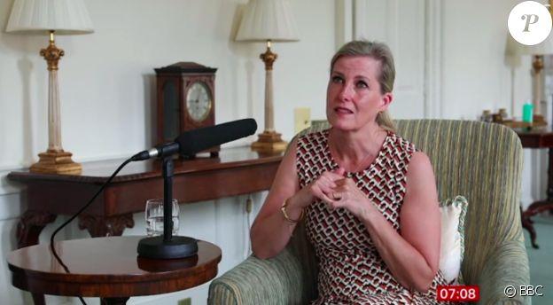 La comtesse Sophie de Wessex évoque la mort du prince Philip avec une vive émotion, lors d'une interview pour la BBC, dévoilée le 16 juin 2021.