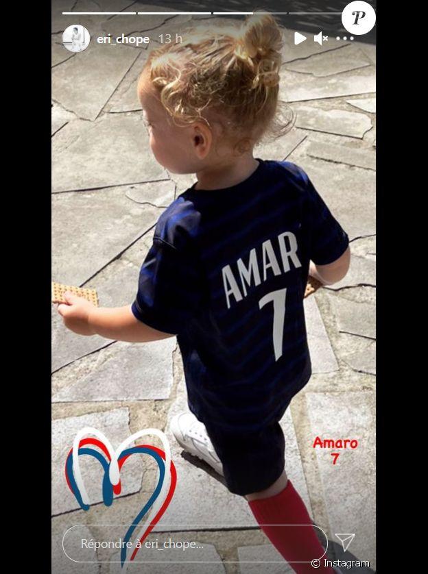 Erika Choperena dévoile une photo de son fils Amaro sur Instagram, fervent supporter de son papa Antoine Griezmann lors de l'affiche Portugal -France (2 -2) lors de l'Euro 2020.