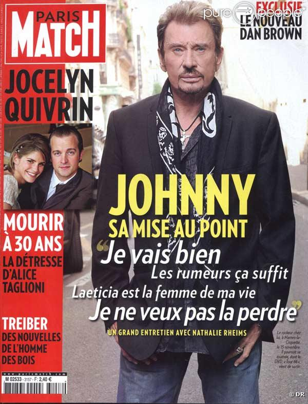 johnny hallyday en couverture de paris match. Black Bedroom Furniture Sets. Home Design Ideas