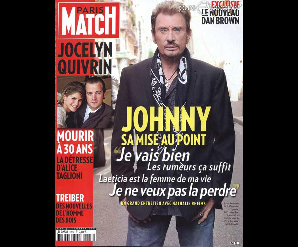 johnny hallyday en couverture de paris match purepeople. Black Bedroom Furniture Sets. Home Design Ideas