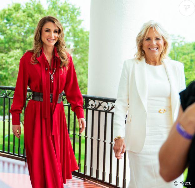 Visite de Rania de Jordanie à la Maison Blanche avec la First Lady Jill Biden.