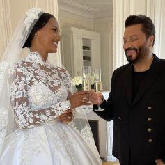 Le mannequin Jasmine Tookes et Zuhair Murad, créateur de sa robe de mariée. Septembre 2021.