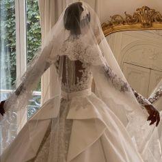 Le mannequin Jasmine Tookes s'est mariée dans une robe Zuhair Murad. Septembre 2021.