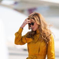 La reine Rania de Jordanie est en voyage officiel à Doha au Qatar le 13 octobre 2021.