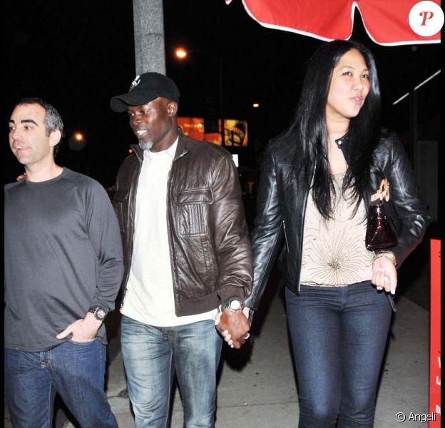 Djimon Hounsou et Kimora Lee à la sortie d'un restaurant de Los Angeles le 6 janvier 2010.