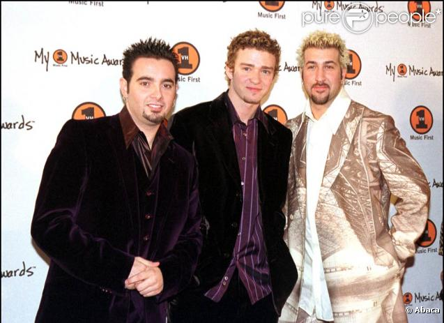 Joey Flatone au côté de Justin Timberlake à l'époque des N'Sync en 2000