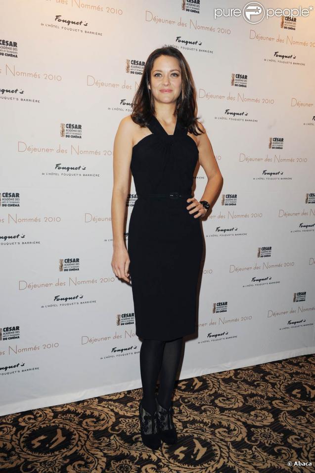 Marion Cotillard au déjeuner des nominés au Césars le 13 février 2010 au Fouquet's à Paris
