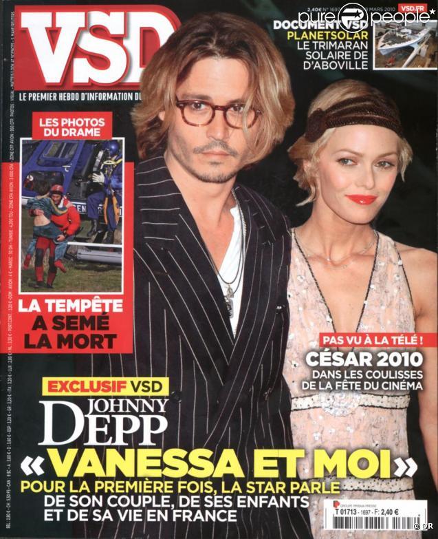 Johnny Depp et Vanessa Paradis en couverture de VSD