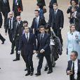 Carla, Nicolas Sarkozy, Dmitri Medvedev et son épouse arrivent au musée du Louvre. 02/03/2010
