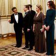 Nicolas Sarkozy et Carla Bruni au prestigieux dîner d'Etat, à l'Elysée. Ils ont reçu Dmitri Medvedev et son épouse Svetlana. 02/03/2010