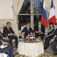 Nicolas Sarkozy reçoit Dmitri Medvedev et son épouse Svetlana. 02/03/2010